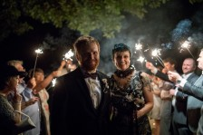 sparkler send off for bride and groom