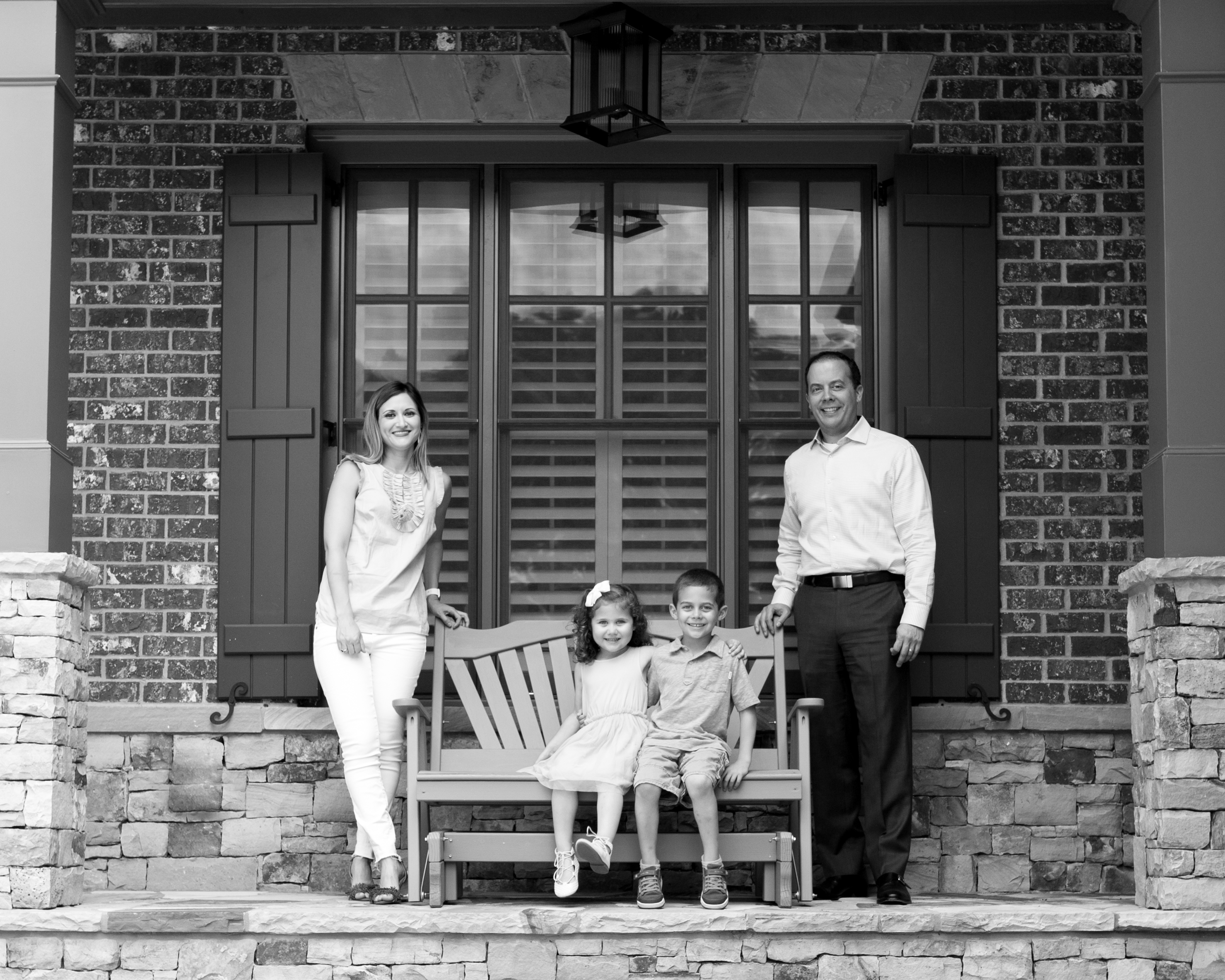 Family on their front porch