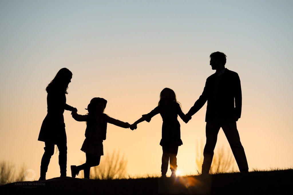 Family silhouette creative family photographer atlanta
