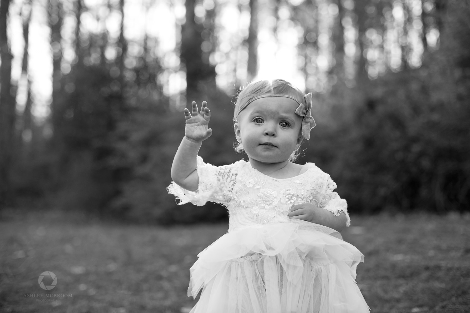 black and white image baby's first birthday in marietta park