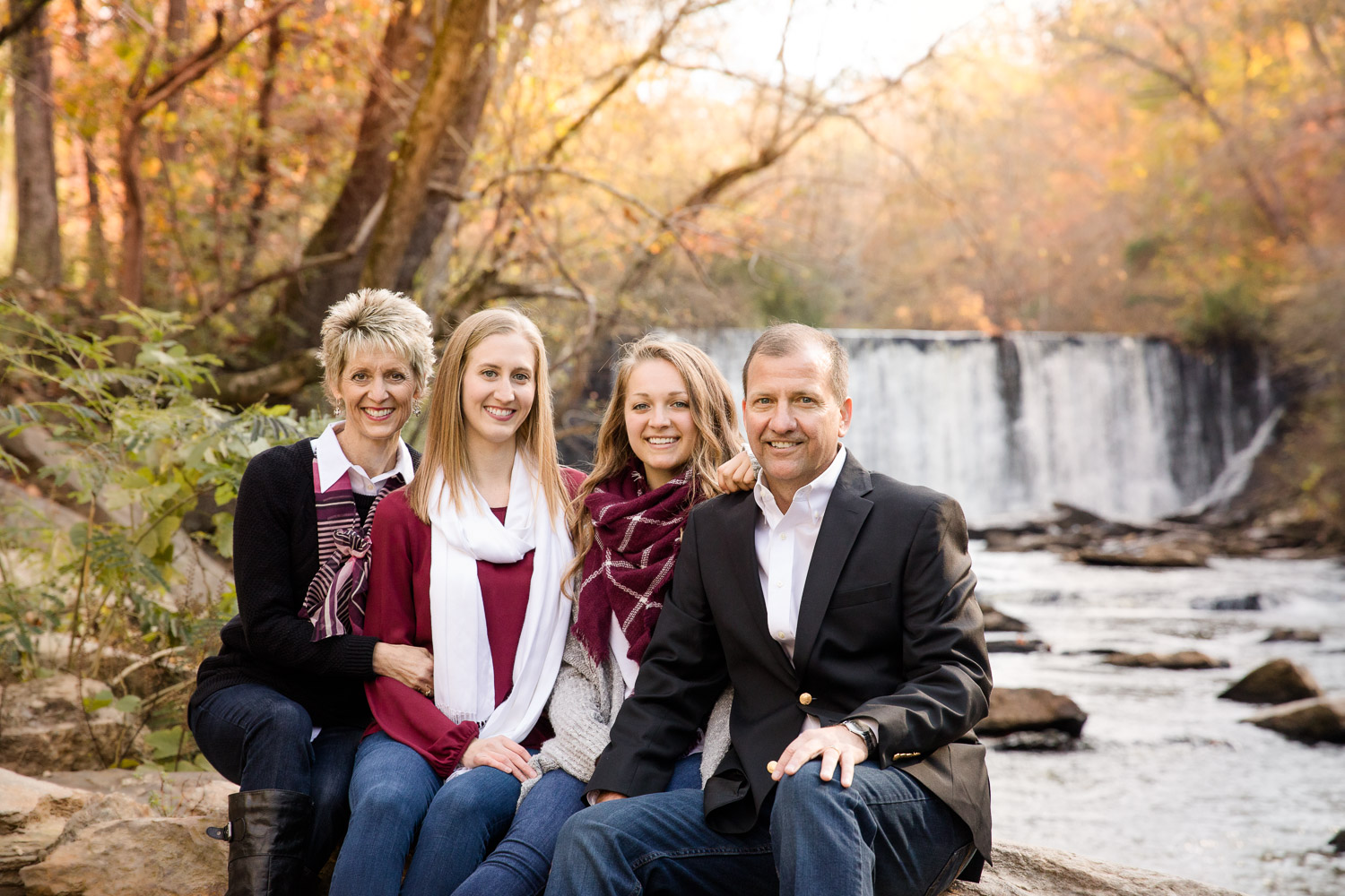 Family of 4 by waterfall roswell photographer
