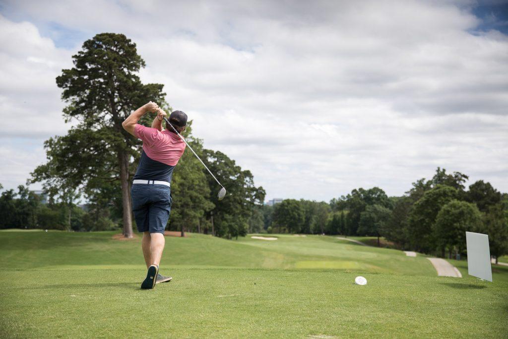 action shot golfing