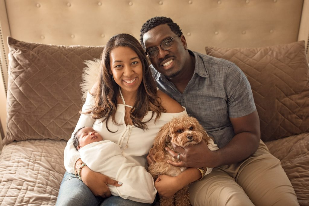 family picture with newborn in marietta including dog