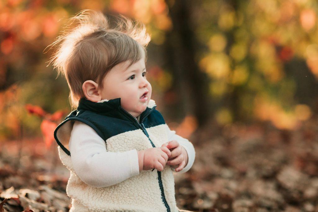 boy in woods near Roswell mill