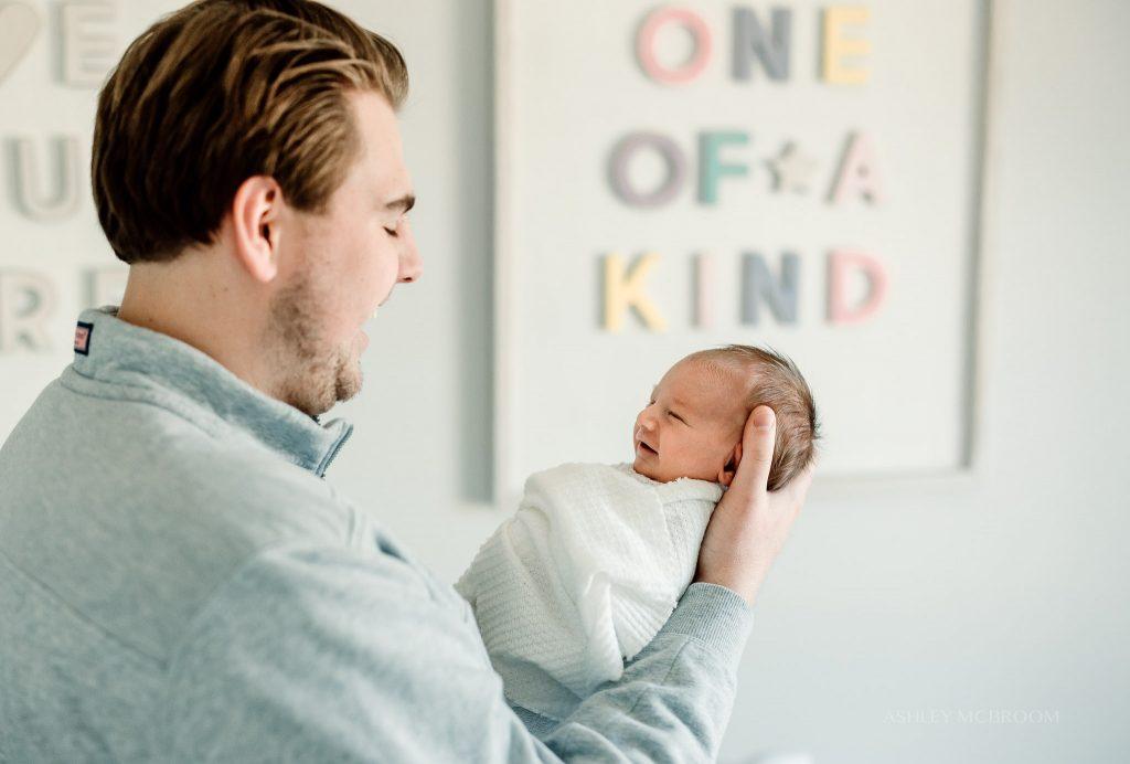 dad with newborn in midtown atlanta