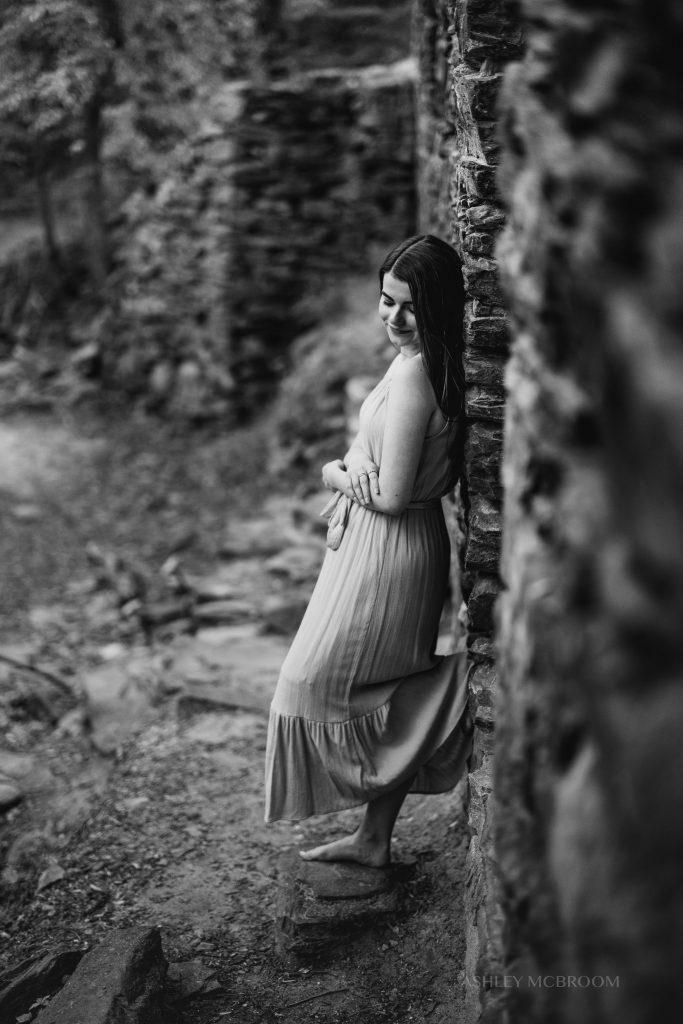 black and white moody senior portrait